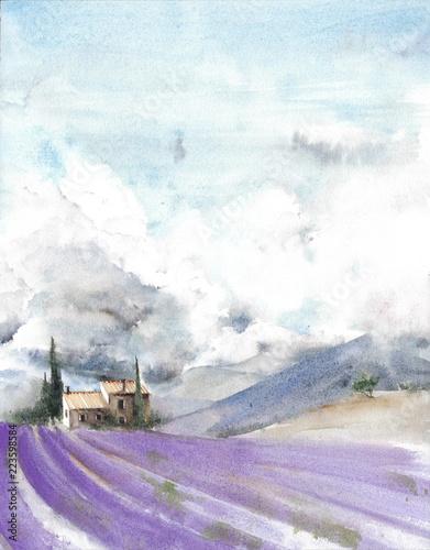 lawendowego-pola-france-provence-chmury-nieba-gor-akwareli-obrazu-ilustracja