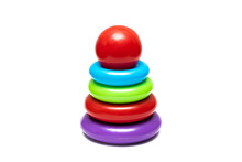 Children's Toy Pyramid From Multi Colored Circles
