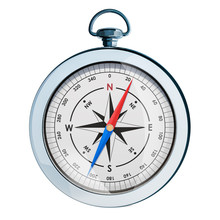 Silver Magnetic Compass, 3d Re...