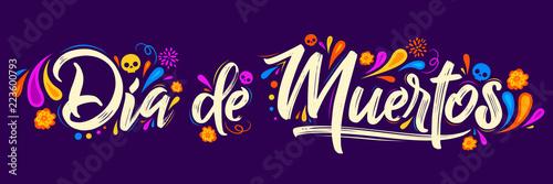 Dia de Muertos, day of Dead spanish text lettering vector illustration Poster Mural XXL