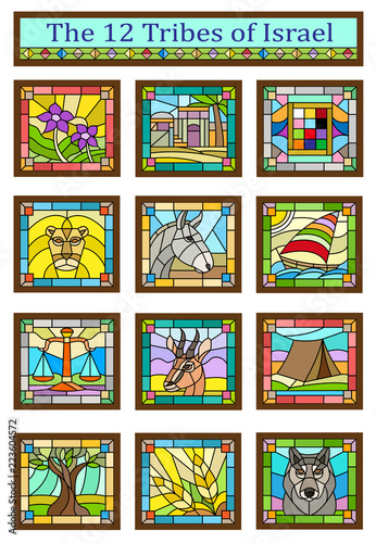 Fotografie, Obraz Israel Tribes - Stained glass design of the 12 tribes of Israel