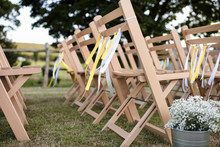Wooden Empty Chairs Arranged O...
