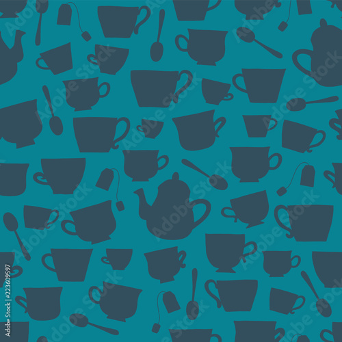 tea-cups-silhouettes-vector-seamless-pattern-background-darkblue-on-teal-tea-time-cups-teapots-spoons-teabags-for-packaging-fabric-menu-cafe-bakery-tea-party-card-winter-scandinavian