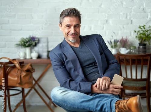 Obraz Portrait of older white man smiling - fototapety do salonu