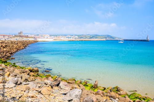 Egypt Rocks on sea coast and view of beach in Tarifa town, Costa de la Luz, Spain