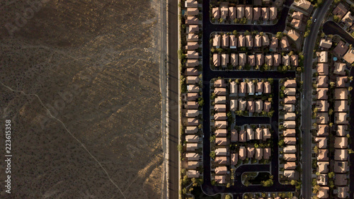Aerial view of houses by landscape at Las Vegas
