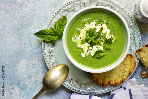 Healthy broccoli soup.Top view with copy space.