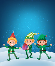 Elf Holding Gift On Snow Background