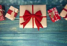 Christmas Presents On Blue Woo...