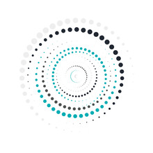 Bright Blue Color Abstract Background In Minimalist Style Made From Colorful Circles. Business Concept For Cover Decoration Of Brochure, Flyer Or Report.