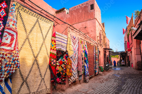Beautiful street of old medina in Marrakech, Morocco