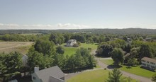 Drone Over Rich Development Poughkeepsie NY To Single Large House