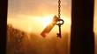 Golden key to success idea, sunset.