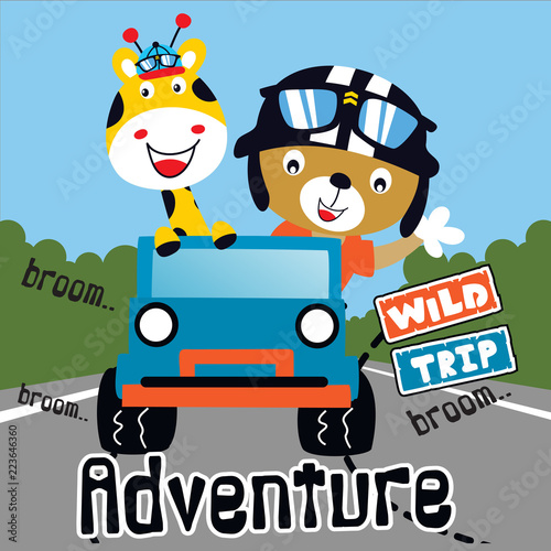 Staande foto Cartoon cars wild trip adventure animal cartoon vector