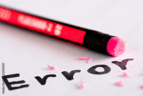 Erase the word Error with a rubber concept of eliminating the error, mistake Canvas Print