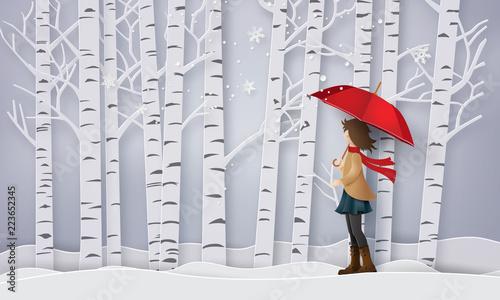 winter season with the girl