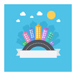 Vector design of modern cityscape with text area. Illustration with modern flat icons: road, buildings, sky.