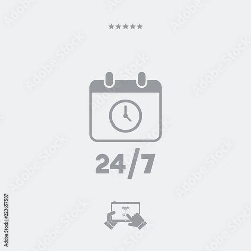 Fényképezés  Calendar icon - 24/7 services - Vector web icon