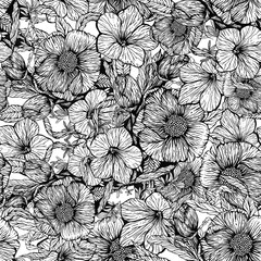 Panel Szklany Czarno-Biały Floral seamless pattern, hand-made design. Ink on paper.