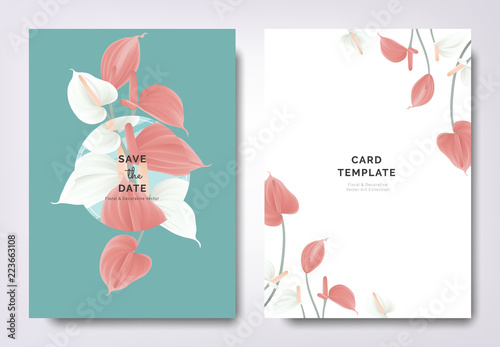 Botanical wedding invitation card template design, white and red Anthurium flowe Canvas Print