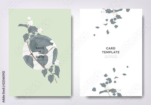 Botanical Wedding Invitation Card Template Design Jasmine Flowers