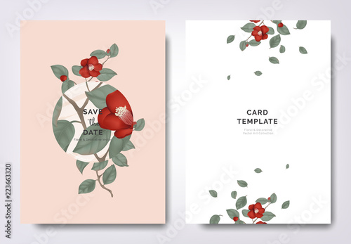 Stampa su Tela Botanical wedding invitation card template design, red Japanese camellia flowers