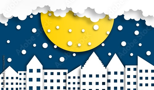 Spoed Foto op Canvas Nachtblauw abstract city background with moon in winter season at night time, vector ,illustration, paper art style, copy space for text