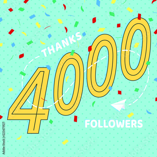 Fotografie, Obraz  Thank you 4000 followers numbers postcard