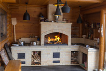 Fireplace Made Of Bricks