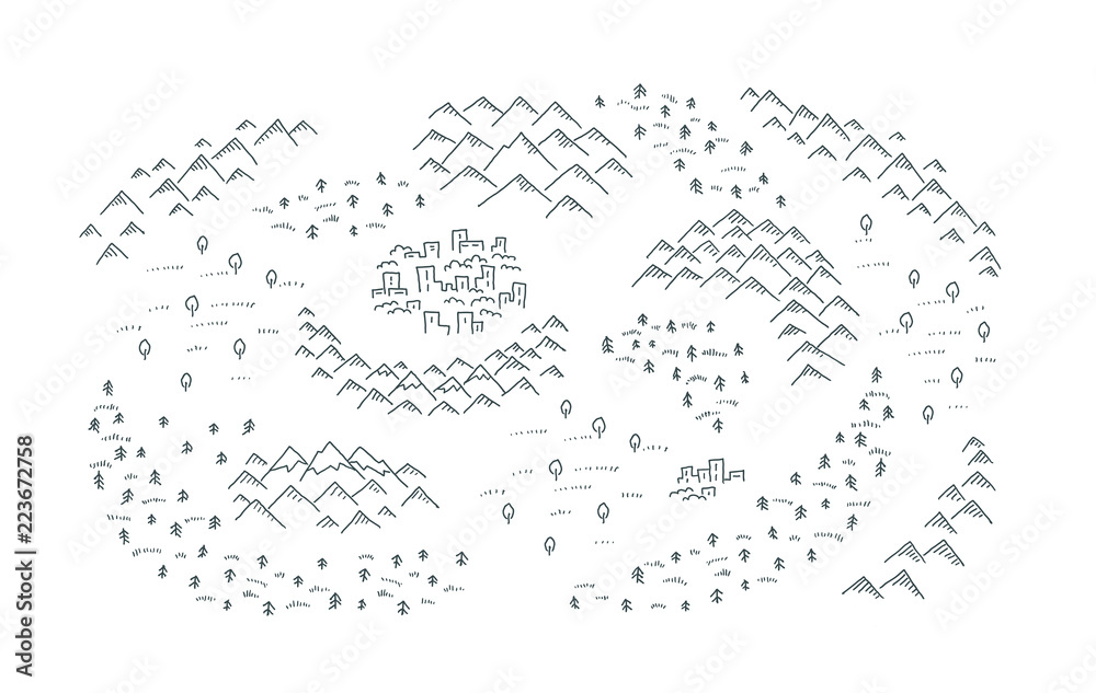 Fototapety, obrazy: Draw map with mountains, forest and small town