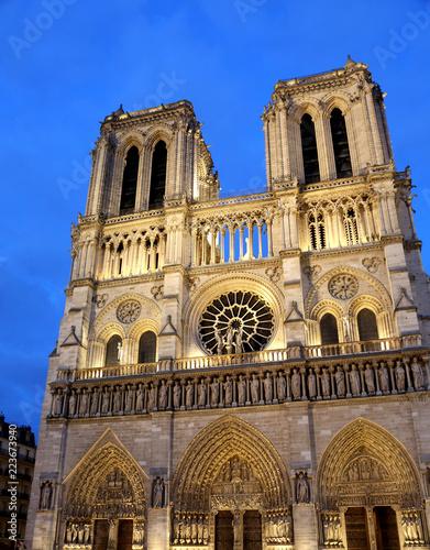 Fotografia  Basilica of Notre Dame in Paris France by night