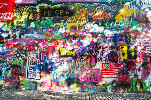 Famous John Lennon Wall covered with graffiti in the Little Town area near Charles Bridge, Mala Strana, Prague, Czech Republic - 223674184
