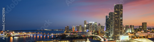 Wall Murals United States Miami downtown at night