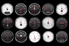 Car Dashboard Gauges. Collection Of Speed, Fuel, Temperature Devices On Black Background