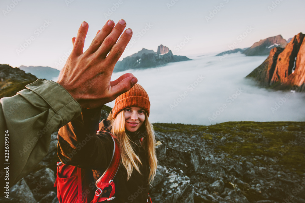 Fototapety, obrazy: Travel couple friends giving five hands outdoor hiking in mountains adventure lifestyle positive emotions concept family together on journey vacations