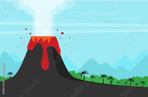 Fotografie, Tablou Vector Illustration of Volcano Eruption. Flat Design Style.
