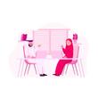 Arabic Offician Discuss, Collaboration Work Flat Vector Illustration