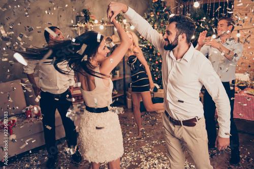Staande foto Schilderingen Excited attractive charming beautiful cheerful well-dressed coup