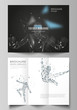 The minimal vector illustration of editable layouts. Modern creative covers design templates for trifold brochure or flyer. Man with glasses of virtual reality. Abstract vr, future technology concept.