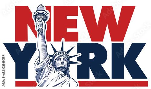 New York City and Statue of Liberty, USA symbol Fototapet