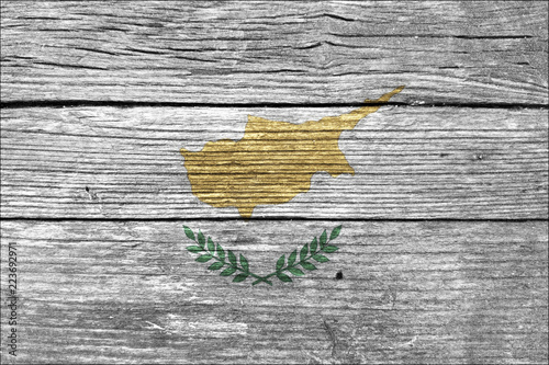 Cyprus Flag on the wooden wall