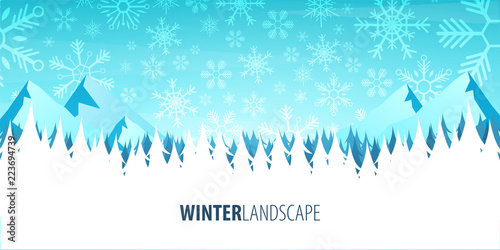 Winter Landscape. Christmas forest woods with mountains. Vector illustration.