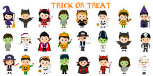 Mega Set Of Halloween Party Characters. Twenty Four Children In Different Costumes For Halloween On A White Background . Cartoon, Flat, Vector