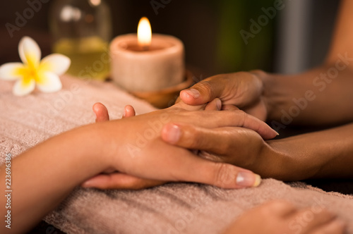 Manicure treatment at luxury spa