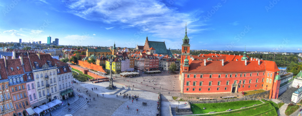 Fototapety, obrazy: Beautiful colorful HDR aerial image of the famous Old town in Warsaw, Poland. The Royal Castle and Sigismund's Column called Kolumna Zygmunta on blue dramatic sky - panoramic image
