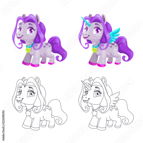 Poster Pony Cute little horse and unicorn icons, colorful and outline versions.