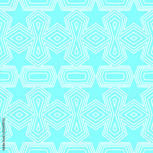 Seamless Geometric Pattern Of Soft Blue Stars And Polygon Shapes With White Lines Flat Design