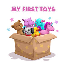 My First Toy. Funny Textile Animal Toys In The Box.