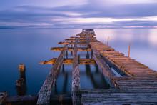 Old Broken Down Wooden Pier In...