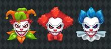 Creepy Clown Faces Set. Spooky...